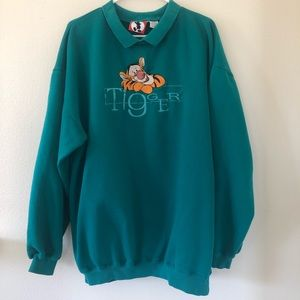 Sweaters - Disney tigger teal collared crew neck